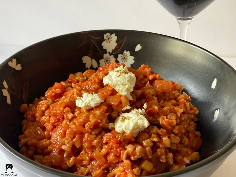Risotto Style Tomato Bacon Barley Recipe and Wine Pairing