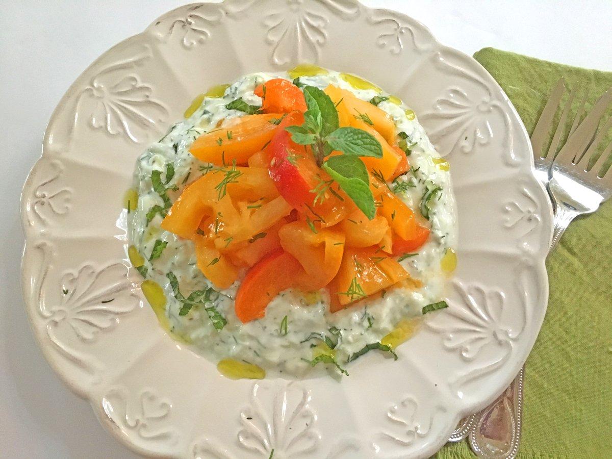 Easy Tomato Salad on Herbed Yogurt